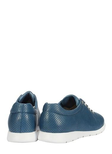 İnci Hakiki Deri Sneaker Ayakkabı Lacivert